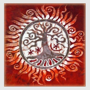 Red Tree of Life Batik