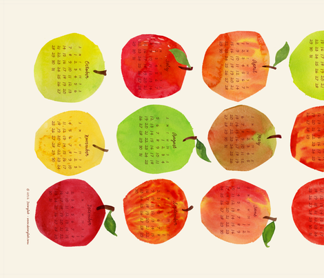 apple calendar fabric by decoylab on Spoonflower - custom fabric