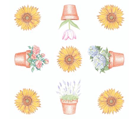 Garden Flowers fabric by creativebrenda on Spoonflower - custom fabric