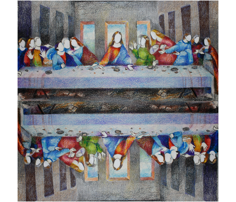 Not Your Grandma's Last Supper Napkin fabric by anotherbanana on Spoonflower - custom fabric