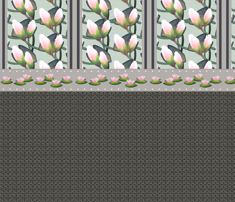 ©2011 Waterlily Shower Curtain  fabric by glimmericks on Spoonflower - custom fabric
