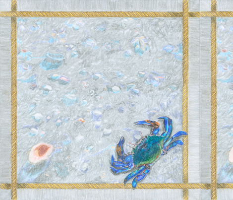 "Blue Crab with Rope Border Sand and Shells Crayon 18"" Napkin fabric by creative8888 on Spoonflower - custom fabric"