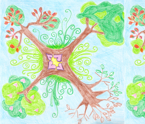 a Tree for all Seasons fabric by wiccked on Spoonflower - custom fabric