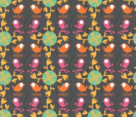 Flowers and Birds on Grey fabric by gsonge on Spoonflower - custom fabric