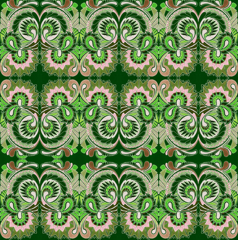 Green Paisley Squirm (charm squares) fabric by edsel2084 on Spoonflower - custom fabric