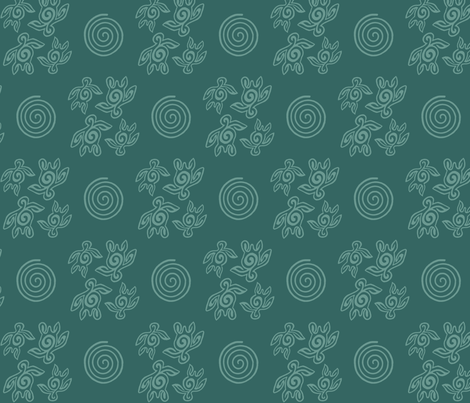 Spirit of the Sea_turtles_&_spirals_bluegreen fabric by mina on Spoonflower - custom fabric