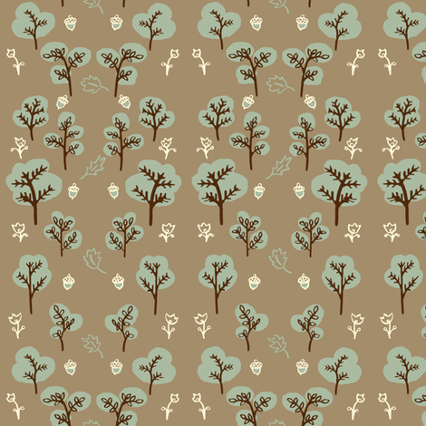 Trees and Leaves in Slate fabric by 1stpancake on Spoonflower - custom fabric
