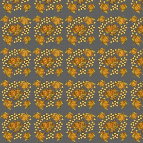 Abstract Flowers-Gold on Grey