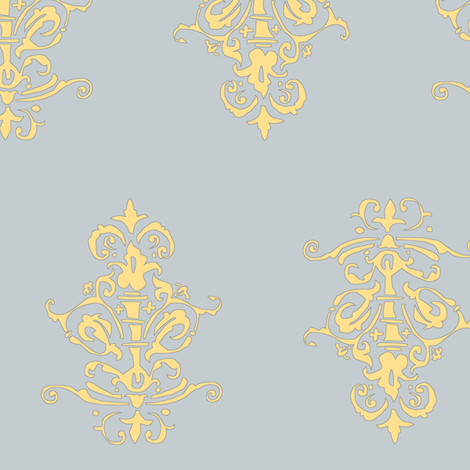 midcentury baroque - grey gold fabric by tractorgirl on Spoonflower - custom fabric