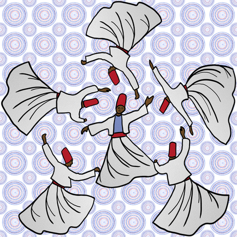 A whirl of dervishes on white fabric by su_g on Spoonflower - custom fabric