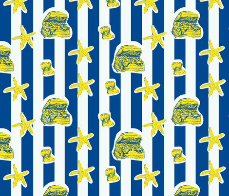 sea stars and stripes (sunken treasure)  fabric by palmrowprints on Spoonflower - custom fabric
