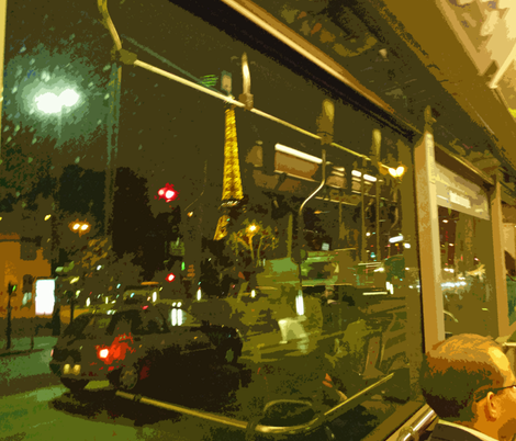 Paris - Eiffel Tower as seen from the #63 bus near Pont de l'Alma
