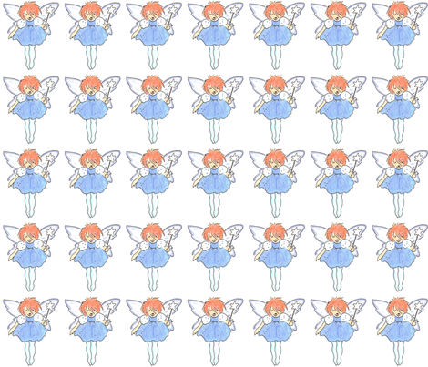 Ginger Fairy in Blue fabric by lorigrace on Spoonflower - custom fabric