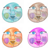 Light Blue, Brown, Orange and Pink Faces