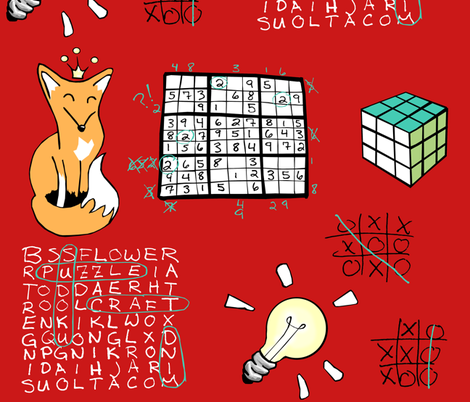 A Red Fox Solves Some Puzzles fabric by pond_ripple on Spoonflower - custom fabric