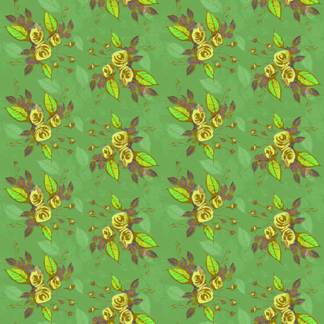 Roses in yellow with green background fabric by joanmclemore on Spoonflower - custom fabric