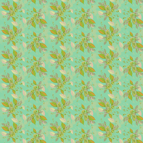Roses in aqua fabric by joanmclemore on Spoonflower - custom fabric