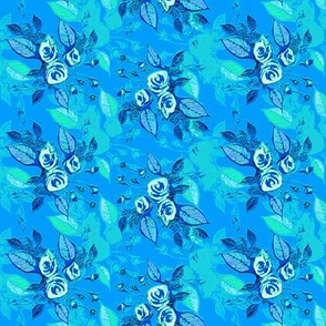 Roses blue background