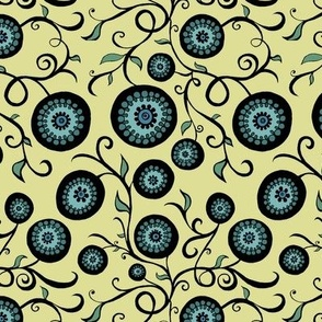 Yellow Blue Teal and Black Circle Flowers and Vines