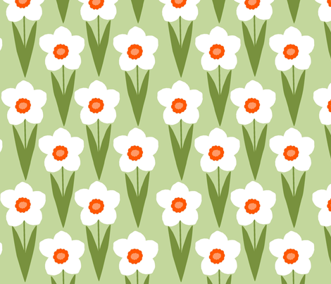 Field of Daffodils fabric by slkanitz on Spoonflower - custom fabric