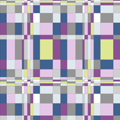 Block Grid in Purples,blues, lilacs, limes Greys