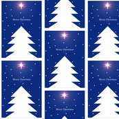 Xmas Tree & Star in Night Sky Panels