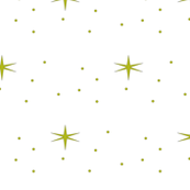 Stars and snowflakes in Green on white background