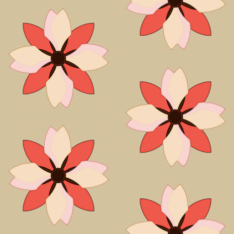 Flower on Taupe fabric by david_kent_collections on Spoonflower - custom fabric