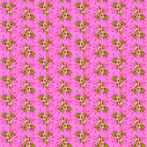 Roses pink on green leaves fabric by joanmclemore on Spoonflower - custom fabric