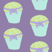 Cupcakes blue, Lemon and green on lilac background