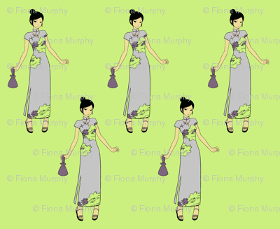 Manga Japenese Girl clip art in  Green & Lilac