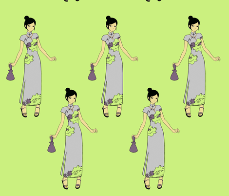 Manga Japenese Girl clip art in  Green & Lilac fabric by sew_delightful on Spoonflower - custom fabric