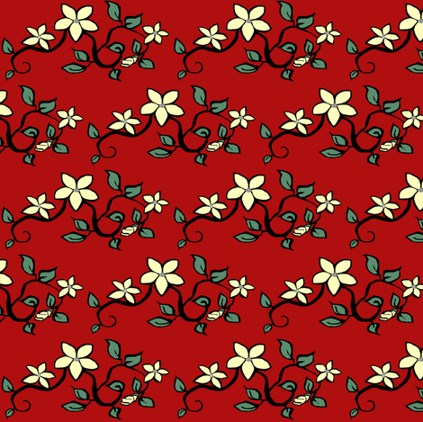 Delicate Floral on Red fabric by pond_ripple on Spoonflower - custom fabric