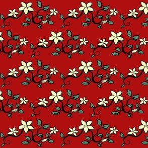 Delicate Floral on Red