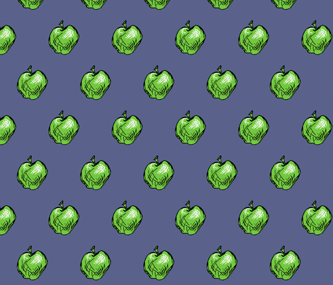 Granny Smith Apples on Denim Blue fabric by pond_ripple on Spoonflower - custom fabric