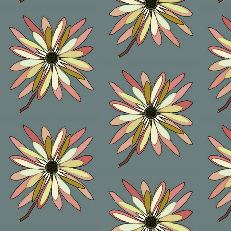 Cut Flower on Blue fabric by david_kent_collections on Spoonflower - custom fabric