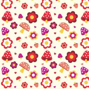 Retro mushroom-flowers