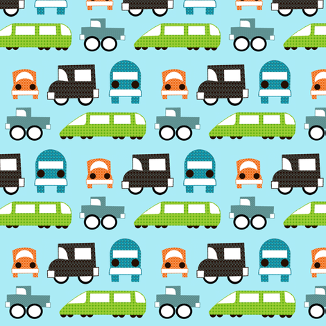 Trucks, Cars and Trains fabric by natitys on Spoonflower - custom fabric