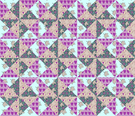 Yankee_Puzzle_Quilt-1_hearts-multicolor fabric by mina on Spoonflower - custom fabric