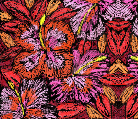 NB-firework_hibiscus_ fabric by nickinic99 on Spoonflower - custom fabric