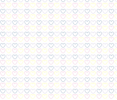 pastel hearts multi fabric by handmadebyclairebear on Spoonflower - custom fabric