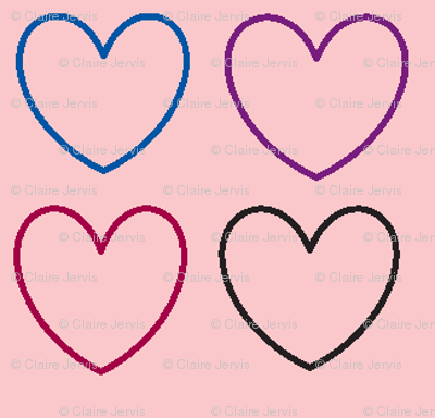 pastel hearts pink