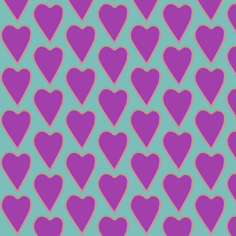 Small_purple_heart_BLUEGREEN fabric by mina on Spoonflower - custom fabric