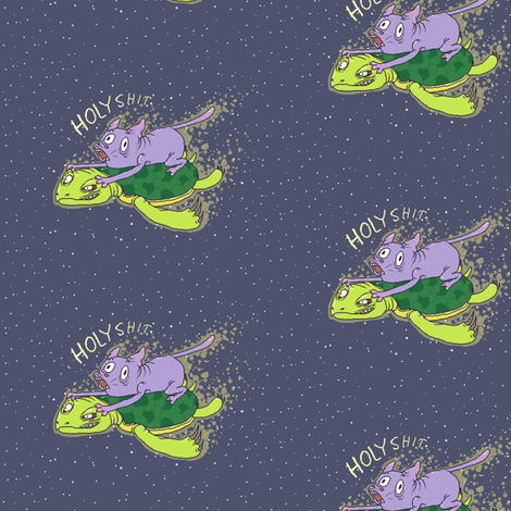 Cat On A Turtle In Space fabric by maniac on Spoonflower - custom fabric