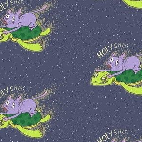 Cat On A Turtle In Space