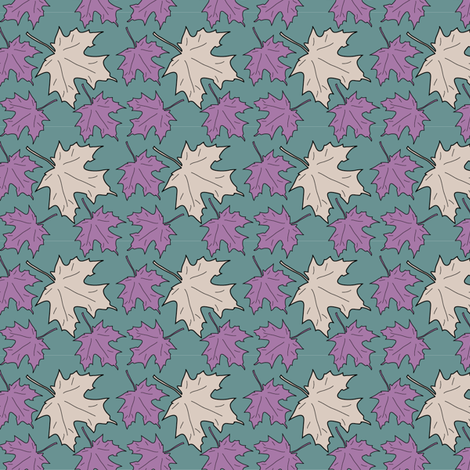 Maple_leaves-1inch-GREEN fabric by mina on Spoonflower - custom fabric