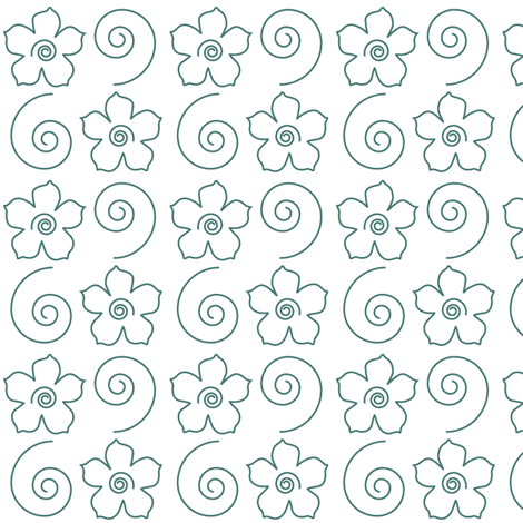 Spiral_Flower_Field_bluegreen-WHITE fabric by mina on Spoonflower - custom fabric