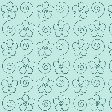 Spiral_Flower_Field-lt-MINAGREEN-170 fabric by mina on Spoonflower - custom fabric
