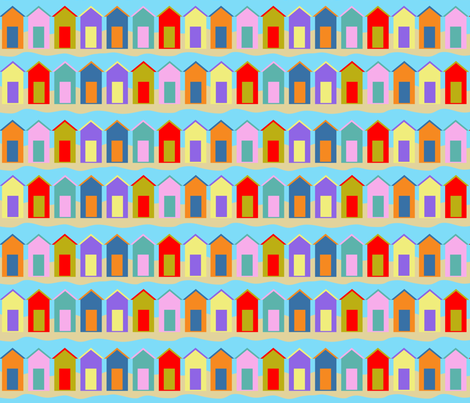 Beach huts fabric by vo_aka_virginiao on Spoonflower - custom fabric