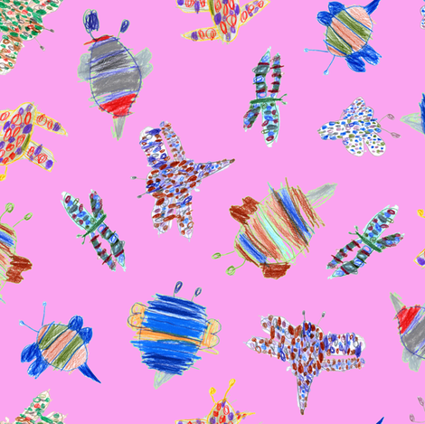 bubbie-bugs on bubblegum pink fabric by weavingmajor on Spoonflower - custom fabric